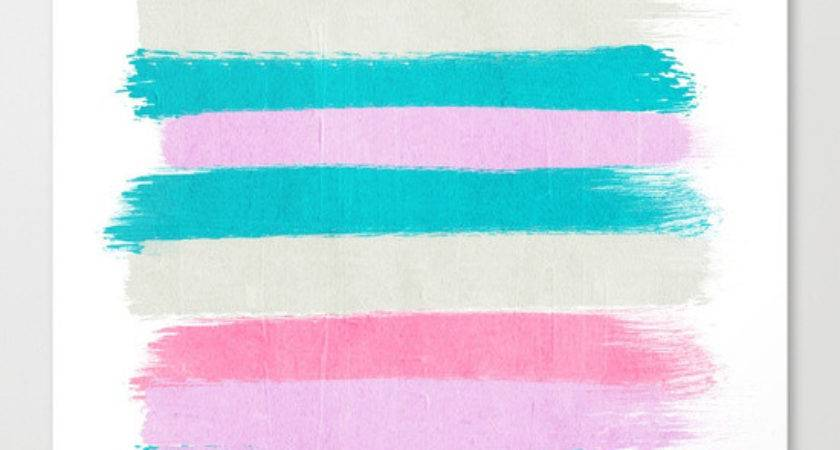 Abstract Stripes Painting Minimal Decor Teal Pink Pastel