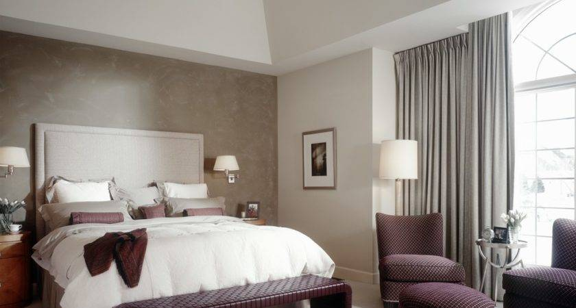 Accent Wall Ideas Bedroom Transitional Drapes Chandelier