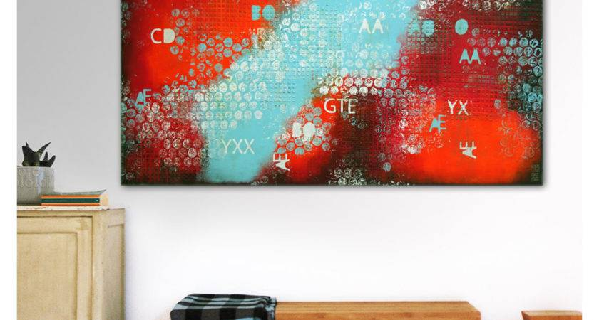 Acrylic Painting Wall Decor Orange Red Blue