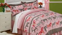 Adorable Mustang Sally Horses Pink Twin Comforter Set
