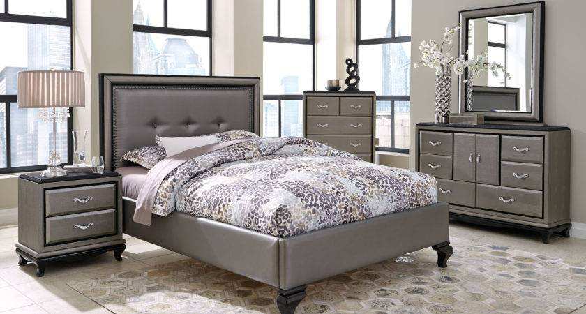 Aico After Eight Studio Titanium Finish Bedroom Set