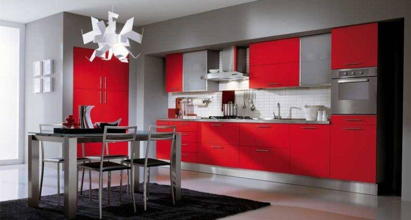 Ala Cucine Grey Kitchen Red Cabinet Interior Design