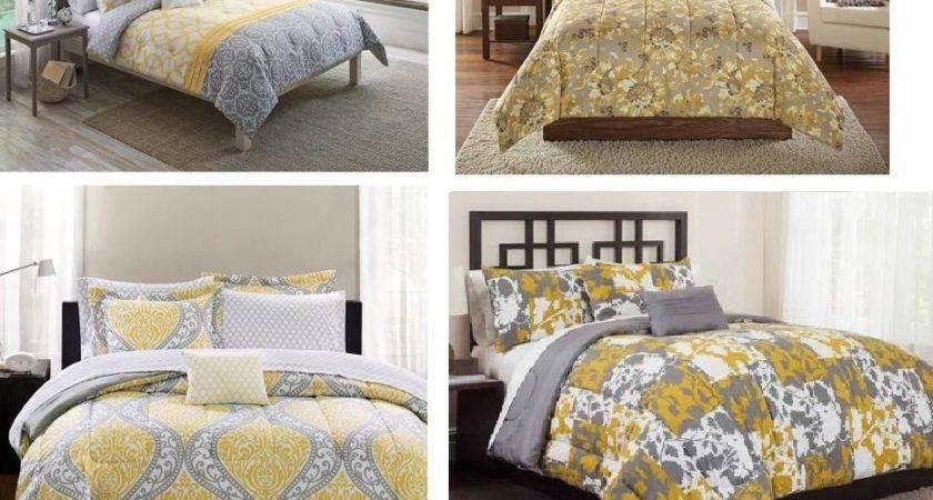All Sizes Yellow Grey Comforter Sets Twin Queen