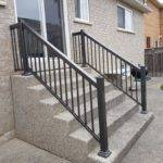 Aluminum Railing Over Cobblestone Steps