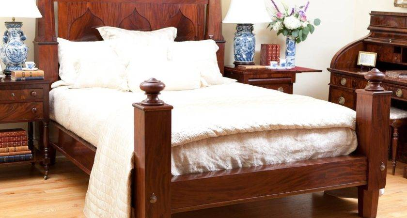 American Empire Bed Mahogany Adapted Queen