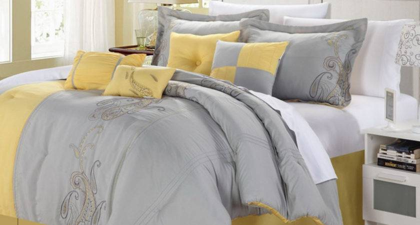 Ann Harbor Piece Yellow Grey Comforter Set