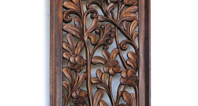 Antique Bali Tree Pattern Carved Wood Home Wall Panel