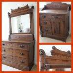 Antique Eastlake Style Set Dresser Mirror