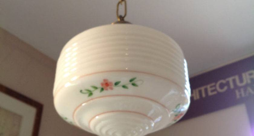 Antique Kitchen Light Fixture Glass Shade Schoolhouse