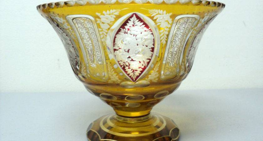 Antique Moser Bohemian Amber Cut Clear Art Glass