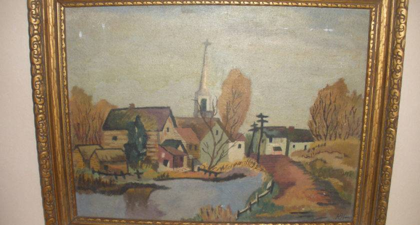 Antique Oil Painting Country Landscape Primitive