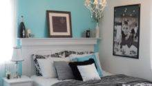 Aqua White Black Bedroom