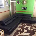 Archive Modern Shaped Black Leather Lounge Suite
