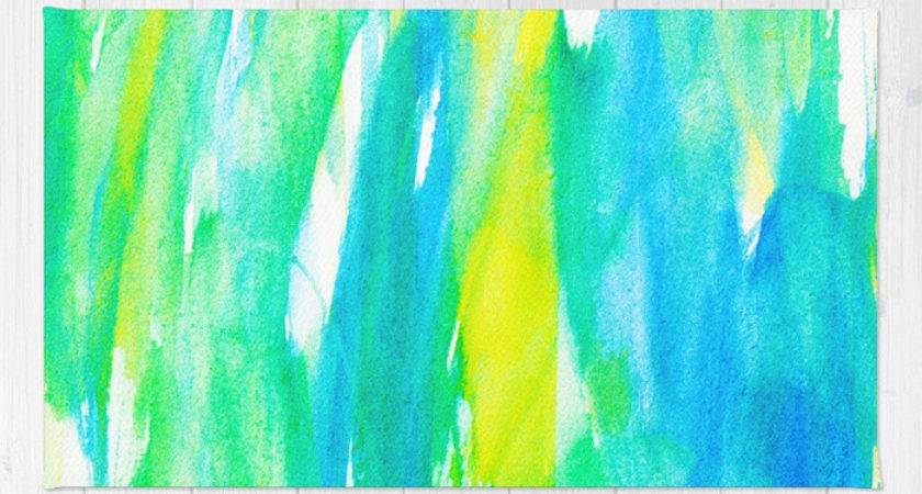 Artistic Neon Turquoise Yellow Teal Watercolor Rug