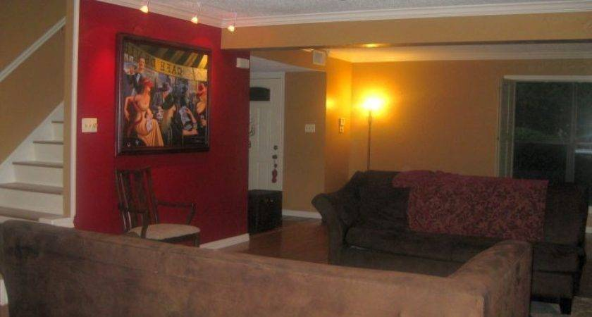 Astounding Red Wall Accent Living Room Ideas