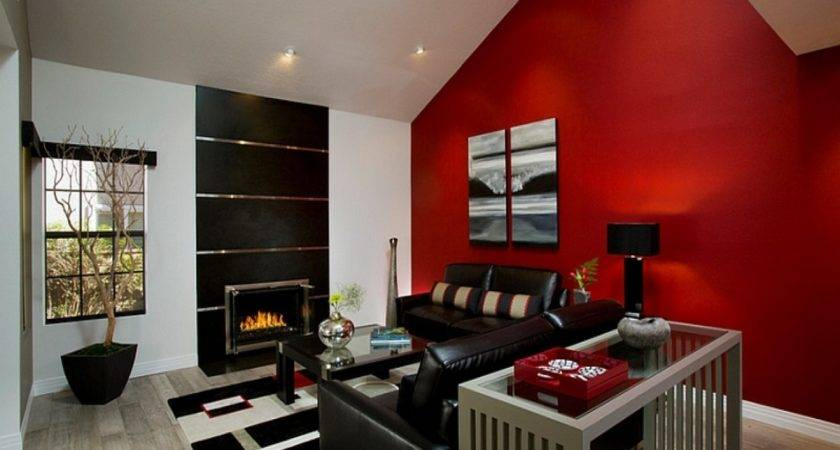 Bachelor Apartment Furniture Living Room Red Accent