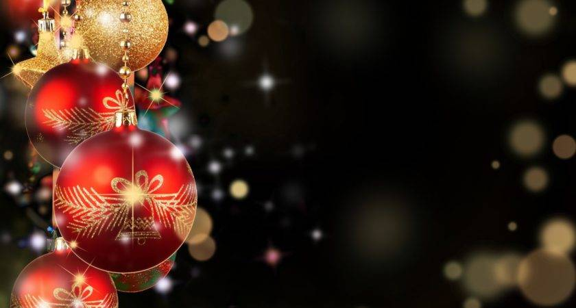 Balls Red Gold Christmas Toys New Year Dark