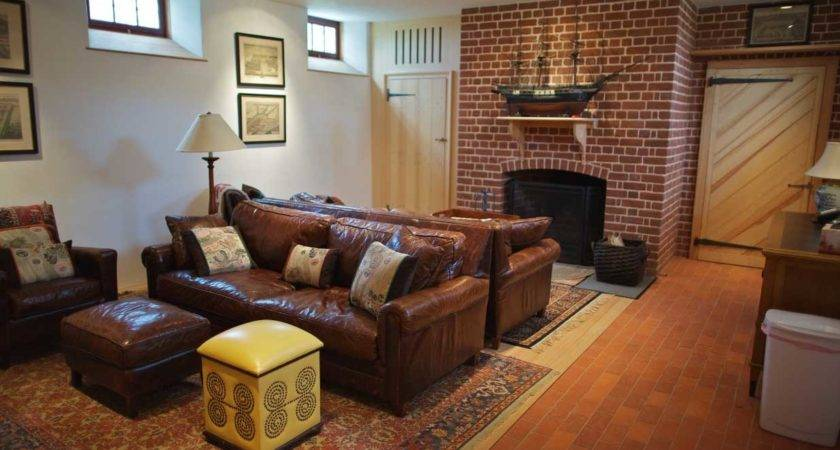 Basement Room Decorating Ideas Brown Leather