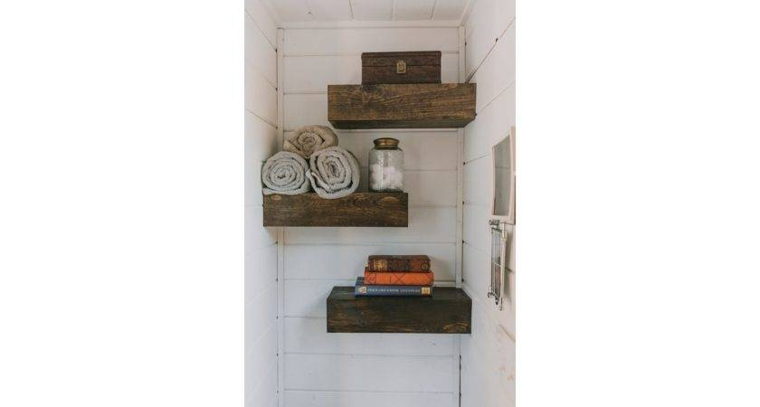 Bathroom Staggered Floating Shelves Not Only Look