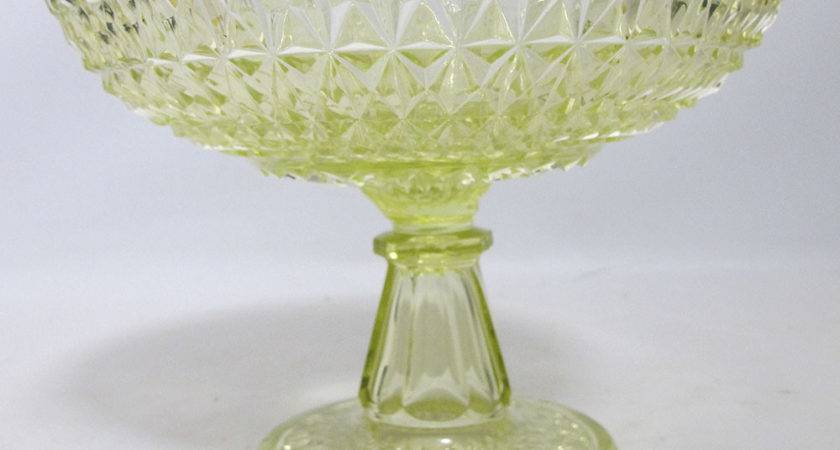 Beautiful Antique Eapg Vaseline Glass Pedestal