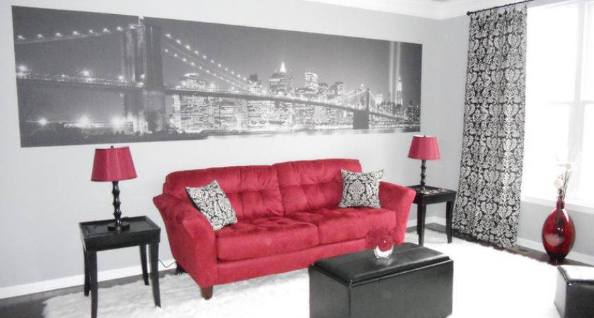 Beautiful Black Red White Living Room Your