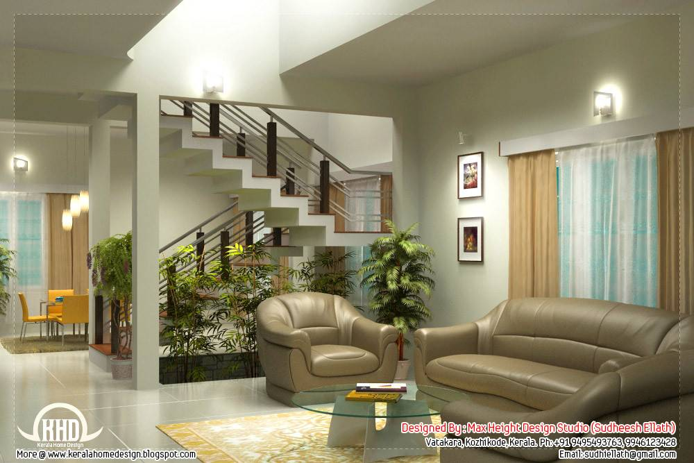 Beautiful Living Room Rendering Kerala House Design Homes Decor