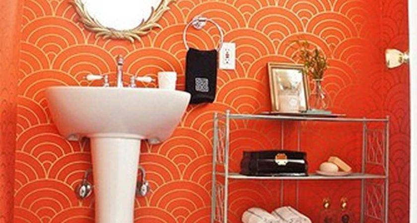 Beautiful Orange Wall Paint Modern Bathroom Vanity