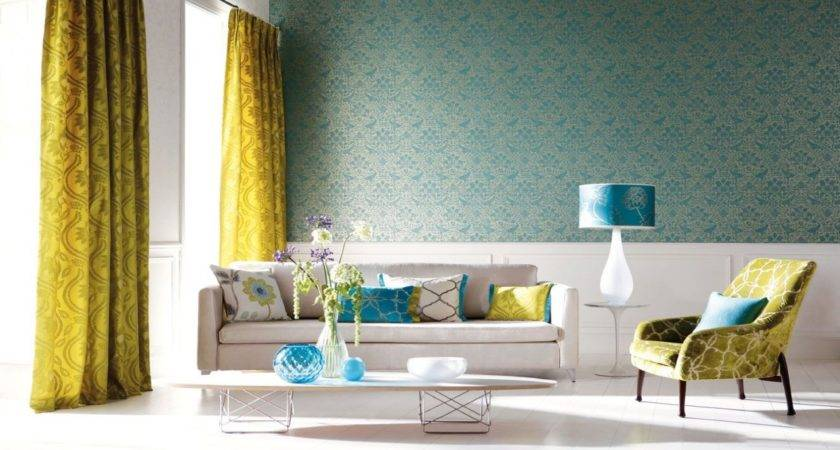Beautiful Small Home Interiors Yellow Teal Living