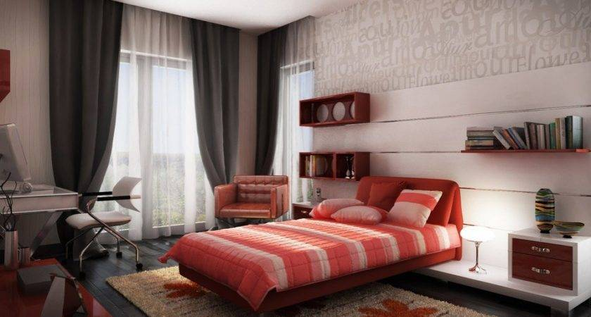 Beautiful Spectacular Design Red White Gray Bedroom