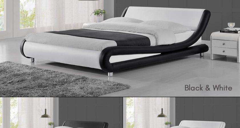 Bed Frame Low Contemporary Curved Style Sprung Slatted