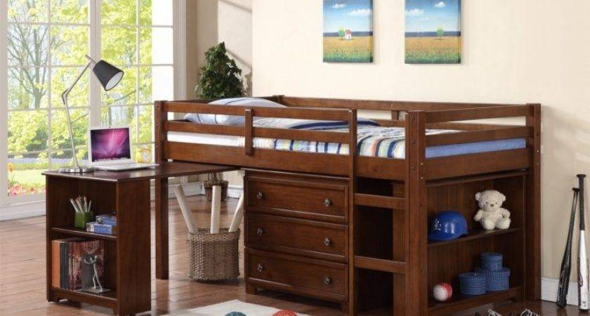 Bedroom Boys Brown Stained Wooden Lof Bed