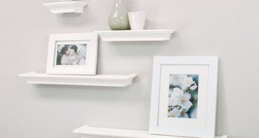 Bedroom Charming White Floating Wall Shelves Board Line