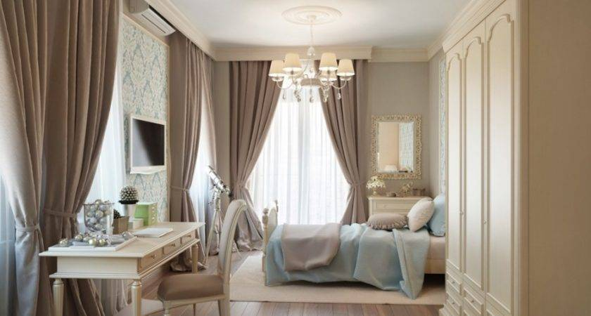 Bedroom Enchanting Girl Blue Cream Decoration