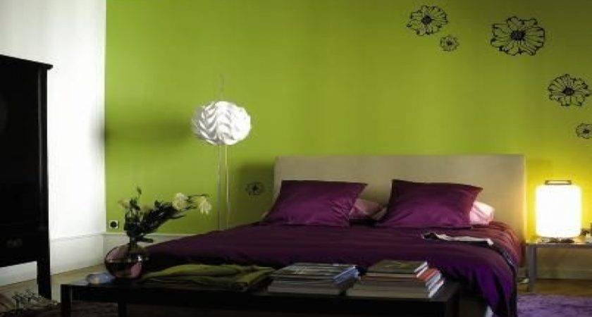 Bedroom Green Walls Purple Colors