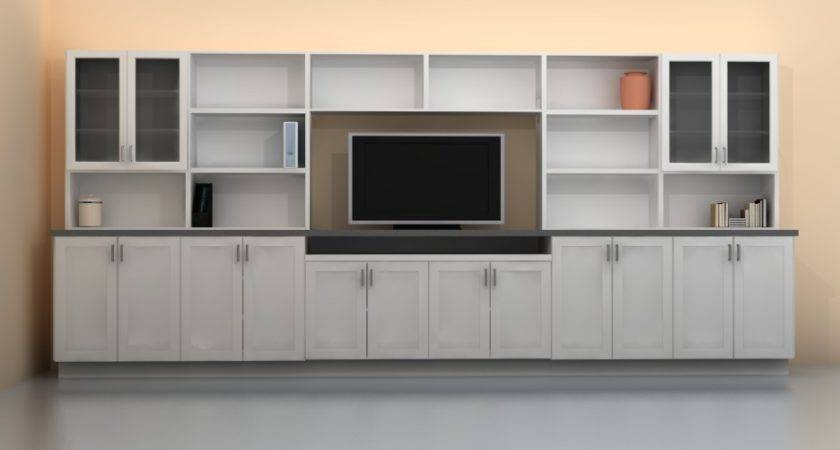 Bedroom Simple Nice Long White Wall Unit Storage