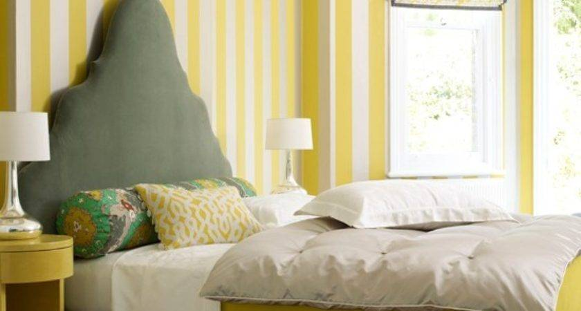 Bedroom Striped Yellow Grey