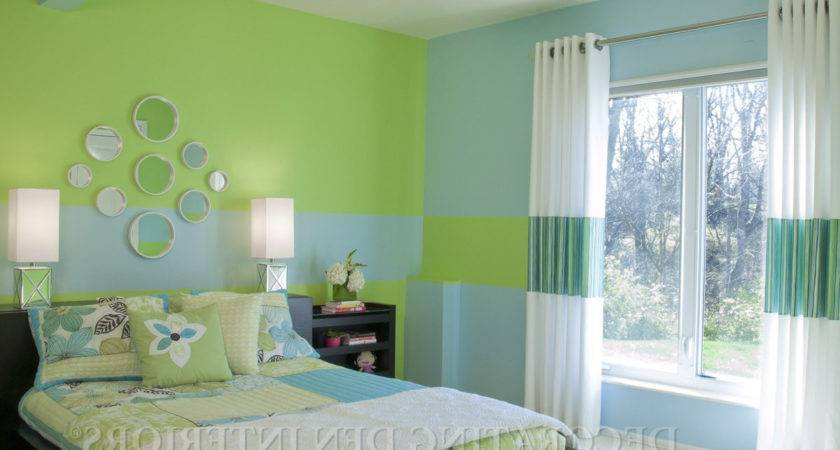 Bedroom Wall Painting Green Blue Colour Home Combo