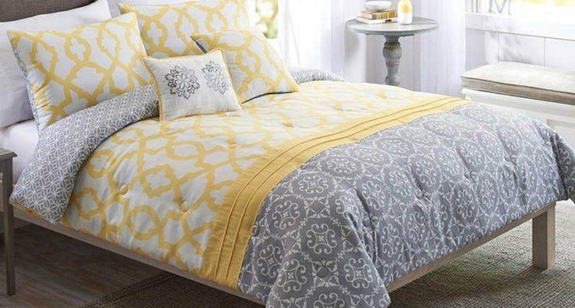 Best Yellow Gray Bedding Ideas Pinterest