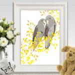 Birds Wall Art Printable Cockatoo Print Yellow Gray Home Decor