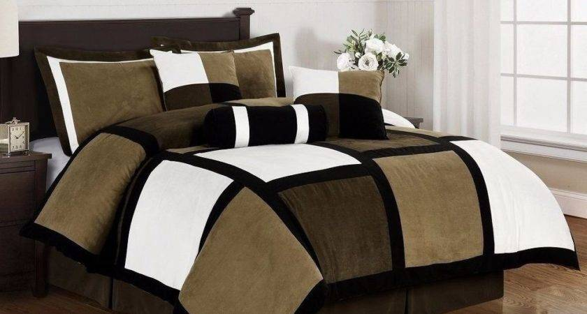 Black Brown White Microsuede Patchwork Piece Duvet Cover