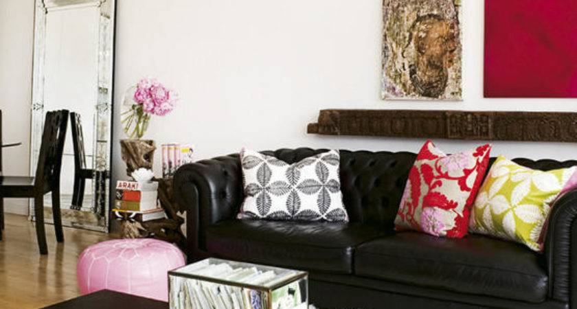 Black Chesterfield Sofa Contemporary Living Room