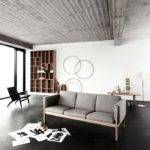 Black Floor White Wall Grey Sofa Minimalist Rug Kvriver