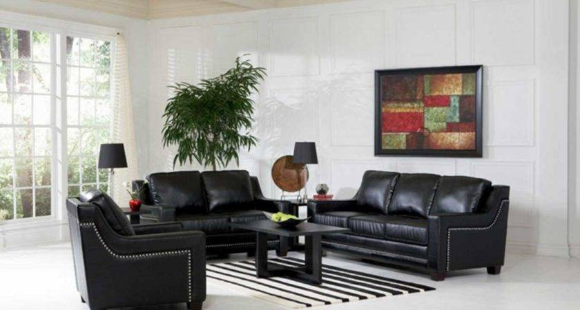 Black Leather Living Room Furniture Sets White Wall