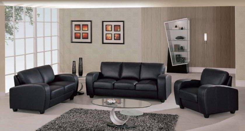 Black Leather Living Room Sofas Chairs Designs