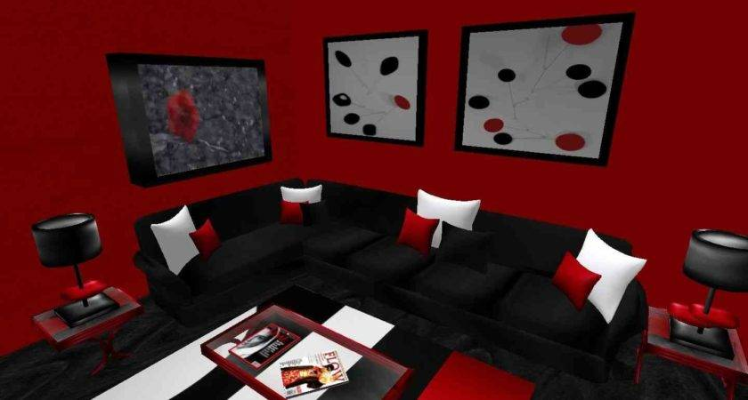 Black Red Living Room Decor Home Design