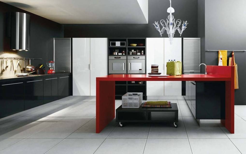Black Red White Modern Kitchen Interior Design Ideas Homes Decor