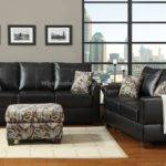 Black Sofa Grey Walls Couch Living Room