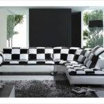 Black White Checkered Leather Sectional Sofa