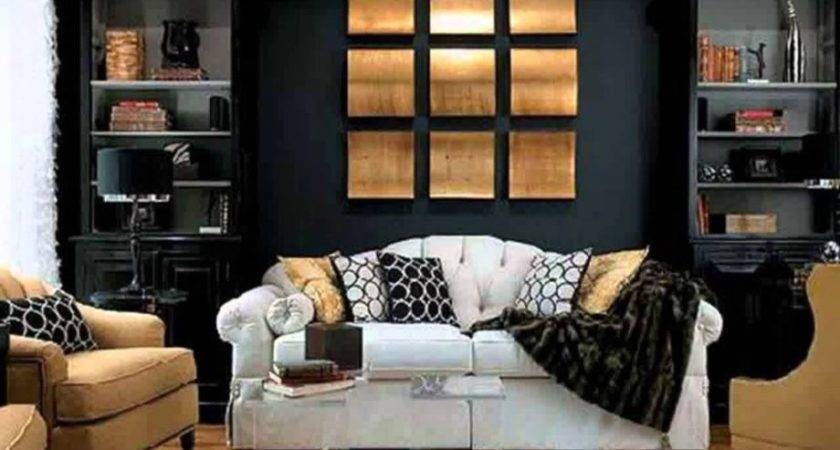 Black White Gold Living Room Ideas Throughout