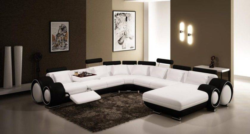 Black White Leather Sofa Set Modern Living Room